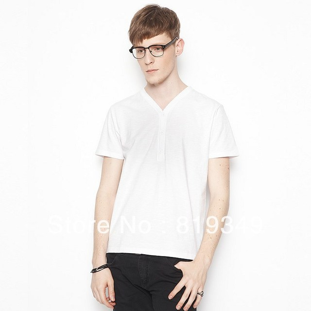 2013 New Arrival VANCL Men's T-Shirt Calvin 100% Cotton Comfortable Classic Basic V-Neck Tee Muti Color FREE SHIPPING