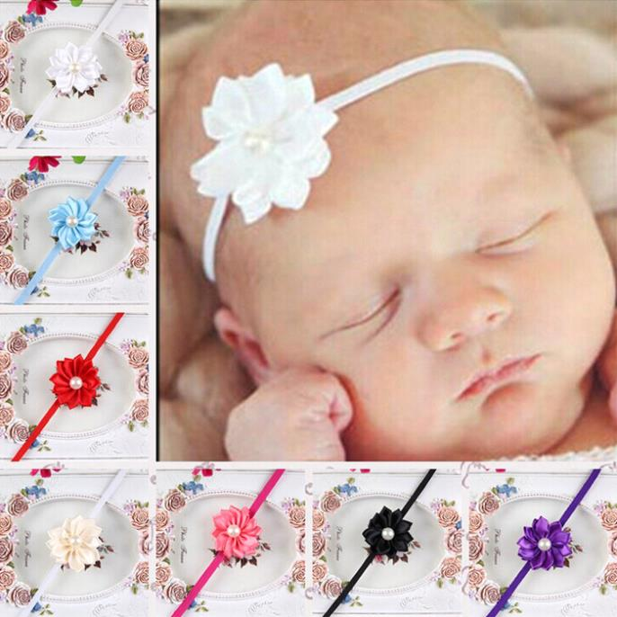 Lovely Baby Kids Girls Toddler Mini Pearl Flower Headband Hair Bow Band Accessory(China (Mainland))