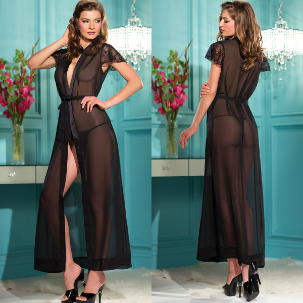 Sexy Lingerie Black Kimono Intimate Sleepwear Robe Night Gown Black Sleepwear Long Mesh Robe with Lace Sleeves SL3039Одежда и ак�е��уары<br><br><br>Aliexpress