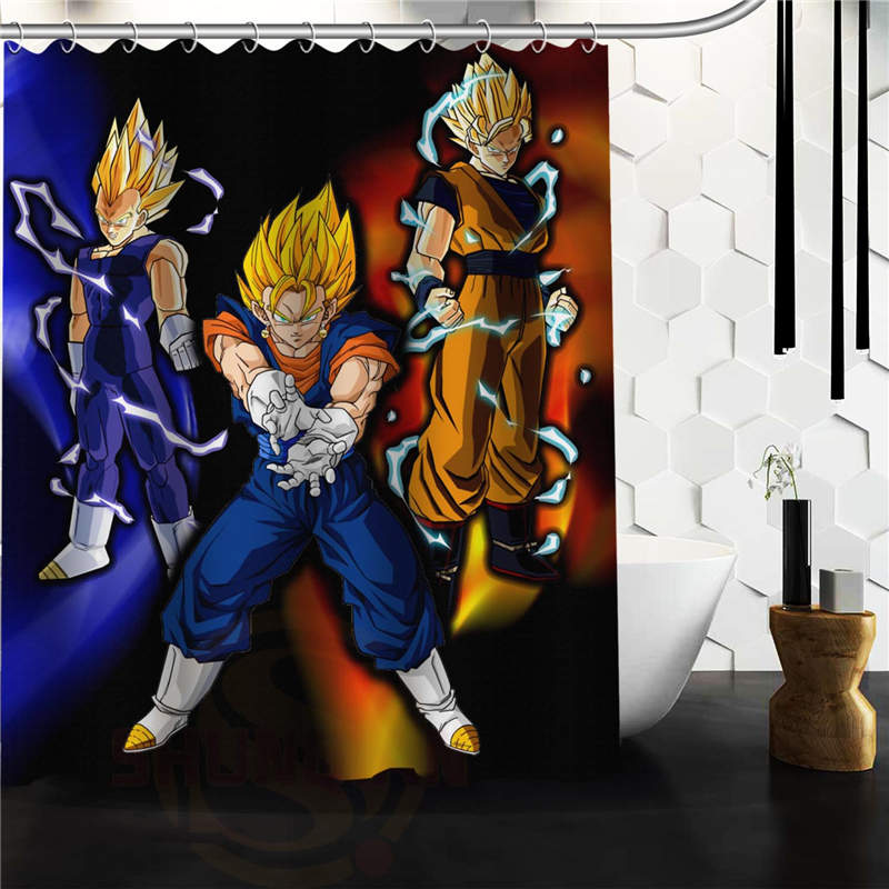 Leaf print shower curtain reviews online shopping leaf for Dragon ball z bathroom