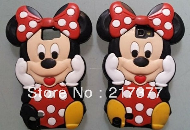 3D Mickey Silicone Back Cover Case for Samsung Galaxy note i9220 N7000 Free Shipping(China (Mainland))