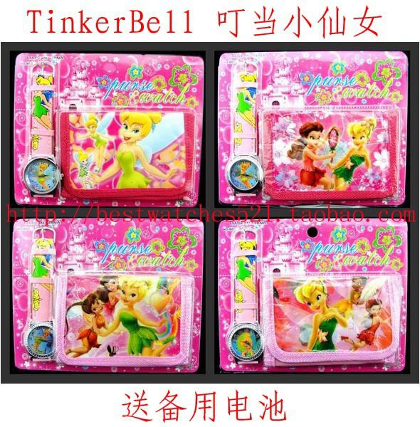 Free Shipping 10pcs/lot TINKERBELL watch, Cute 3D Cartoon Watch with wallet Birthday Party Gift QBB-009(China (Mainland))