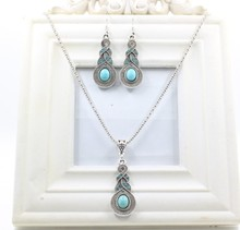 Vintage 1sets Turquoise Chain Necklace&Water Drop Shaped Stud Earring Fashion Jewelry Sets(China (Mainland))