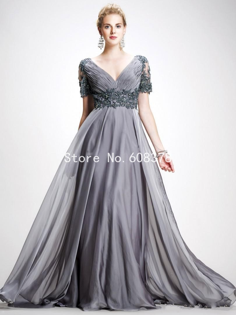 2015 Vintage Prom Dress V Neck Appliques Chiffon Long Plus