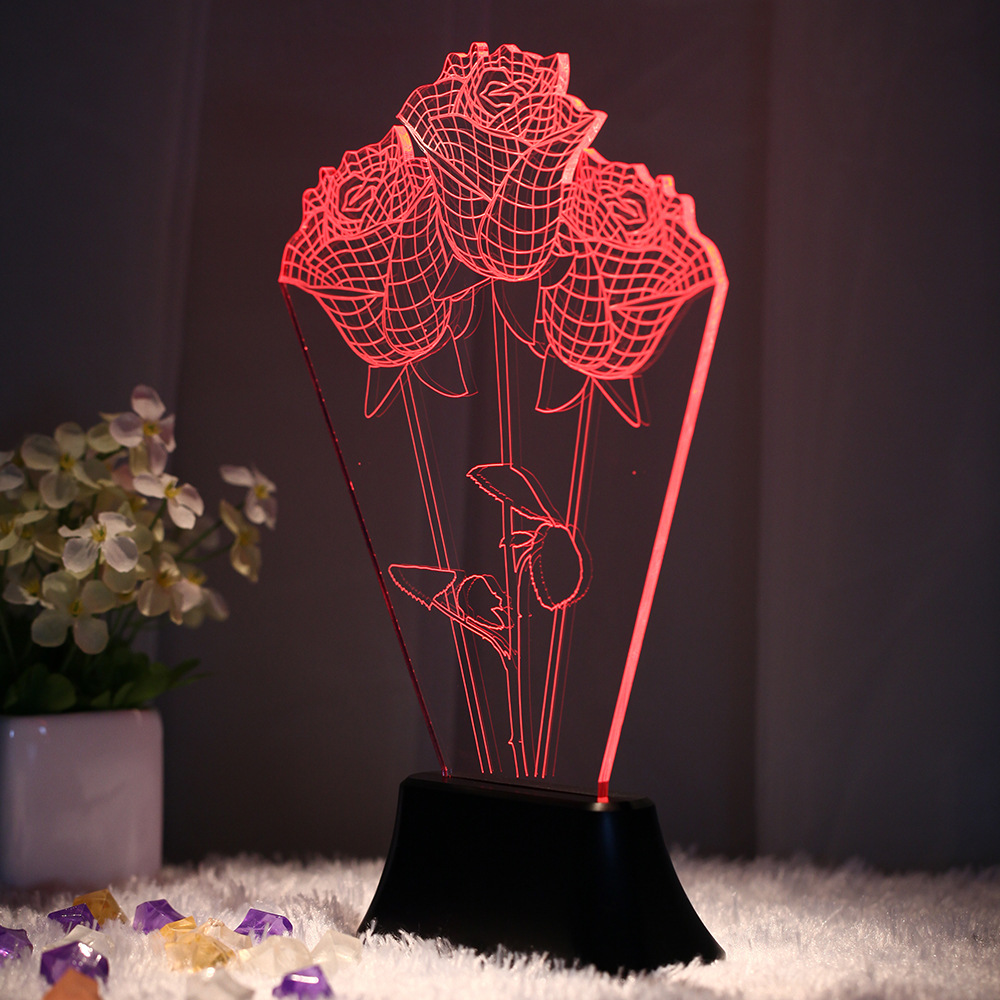 Creative 3D three-dimensional roses colorful visual light (Note: Different base prices are different volumetric weight)(China (Mainland))