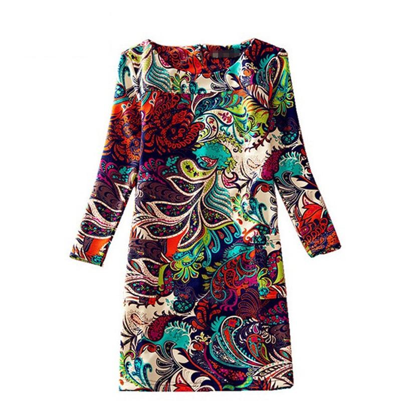 Women Winter Dresses 2016 Long Sleeve Vintage Floral Print Women's Dress Autumn Female Casual Office Dresses Plus size Dress