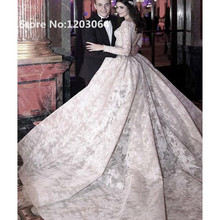 2016 New Fashion Luxurious Lace Embroidery Ball Gown Wedding Dress with Long Sleeve Muslim Bridal Gowns Stunning robe de mariage(China (Mainland))