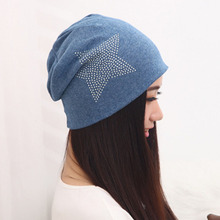 New Autumn Fashion New Knit Baggy Beanie Hat with Star Female Warm Winter Hats for Girls Women Beanies Bonnet Head Cap M0578(China (Mainland))