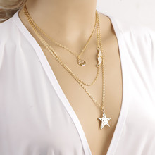 Vintage Summer Style Multilayer Three Pendants Multi Layer Necklace Gold Chain Necklace Accessories Maxi Necklace Pearl
