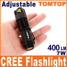 Mini LED Torch 7W 400LM CREE Q5 LED Flashlight Adjustable Focus Zoom flash Light Lamp(China (Mainland))