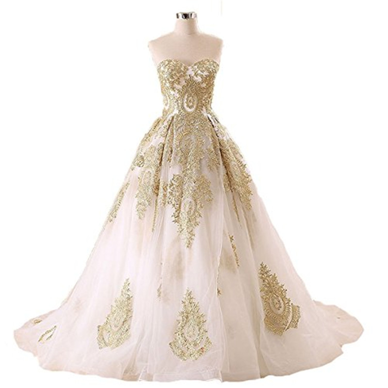 Vintage Wedding Dresses Gold : Bridal gowns appliques wedding vestidos vintage dress from