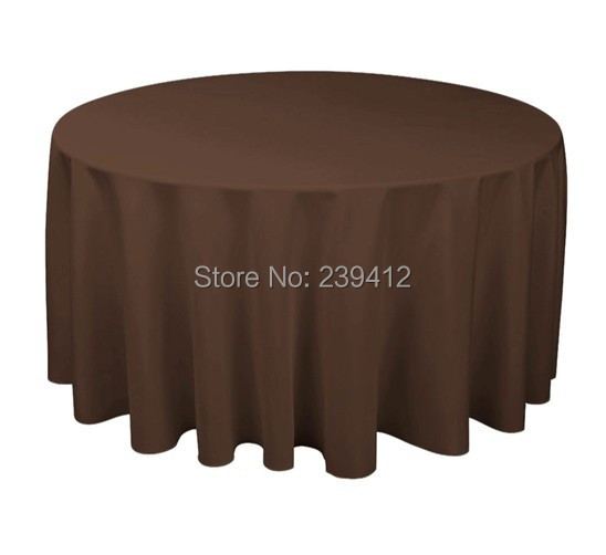 """120"""" Round 210GSM Chocolate Brown Polyester Plain Table Cloth for Weddings Events &Banquet &Party Decoration(China (Mainland))"""