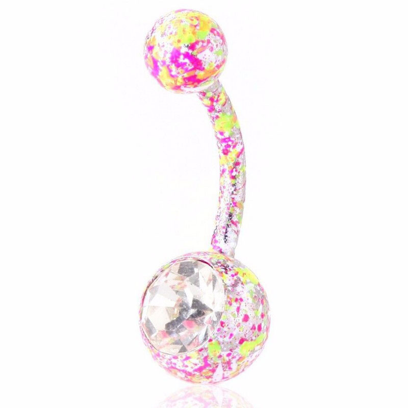 Neon Paint Splatter Belly Ring Navel Naval Solitaire CZ Gem Pink, Purple 1pcs(China (Mainland))