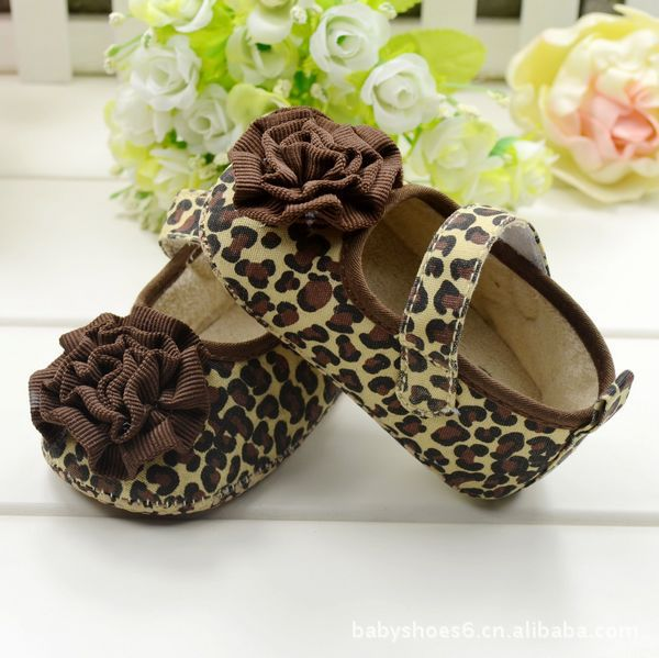 Cute Crib Shoes PreWalkers First Walker Brown Leopard Flower Baby Girl Shoes For Free Shipping