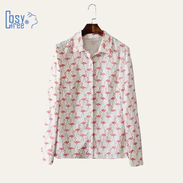 2015 Blusas Plus Size Animal Flamingo Printed Women Tops