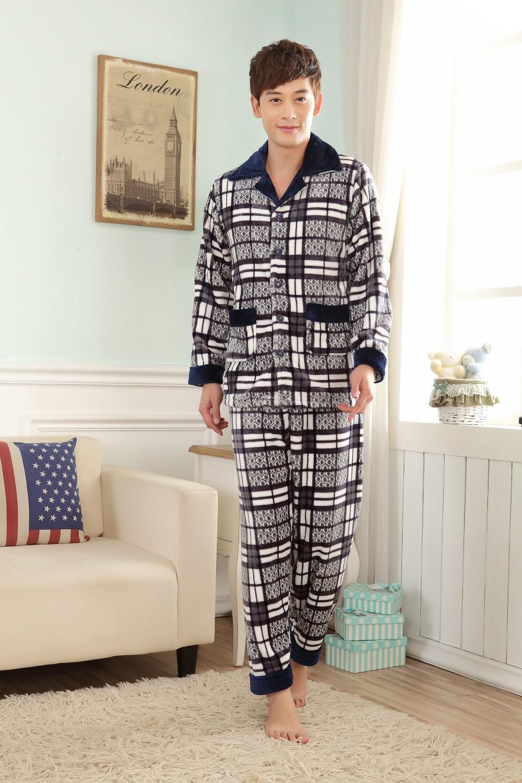 Осень и зимняя мужская фланелевые пижамы спортивный костюм толстые теплые пижамы костюм лацкане досуг