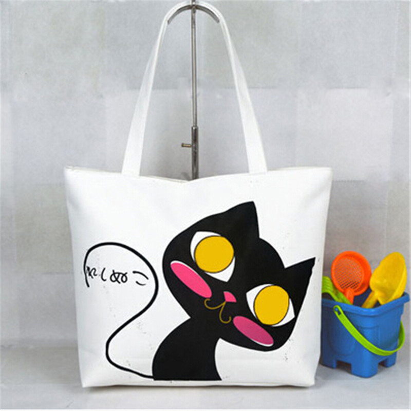 50%OFF!Women Handbags New 2015 shoulder Casual Women Bag Woven Canvas Bags Cute Cat Shopping Bags Office Lady Free Shipping(China (Mainland))