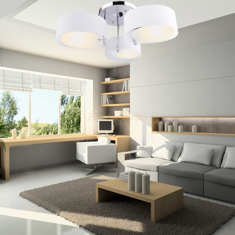 Plafondlamp Slaapkamer: Plafondlamp modern metaal stof zilver grijs.