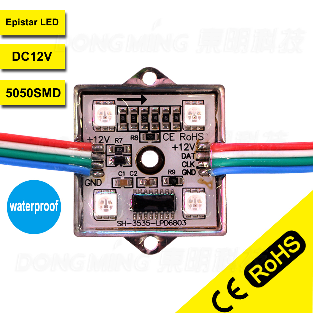 Outdoors Ad lights led module smd5050 4leds/piece waterproof IP65 led channel letter dc 12v 200pcs wholesale ws2801 led modules(China (Mainland))