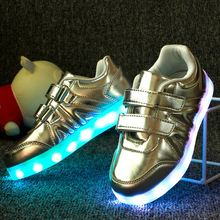 Spring and summer fashion magic children shoes light USB charging led leisure shoes golden light(China (Mainland))