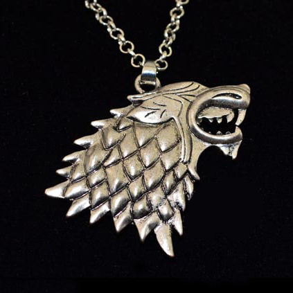 A Song of Ice and Fire Game of Thrones House Stark Direwolf Canis dirus men pendant necklace male collar wolf sign chain(China (Mainland))
