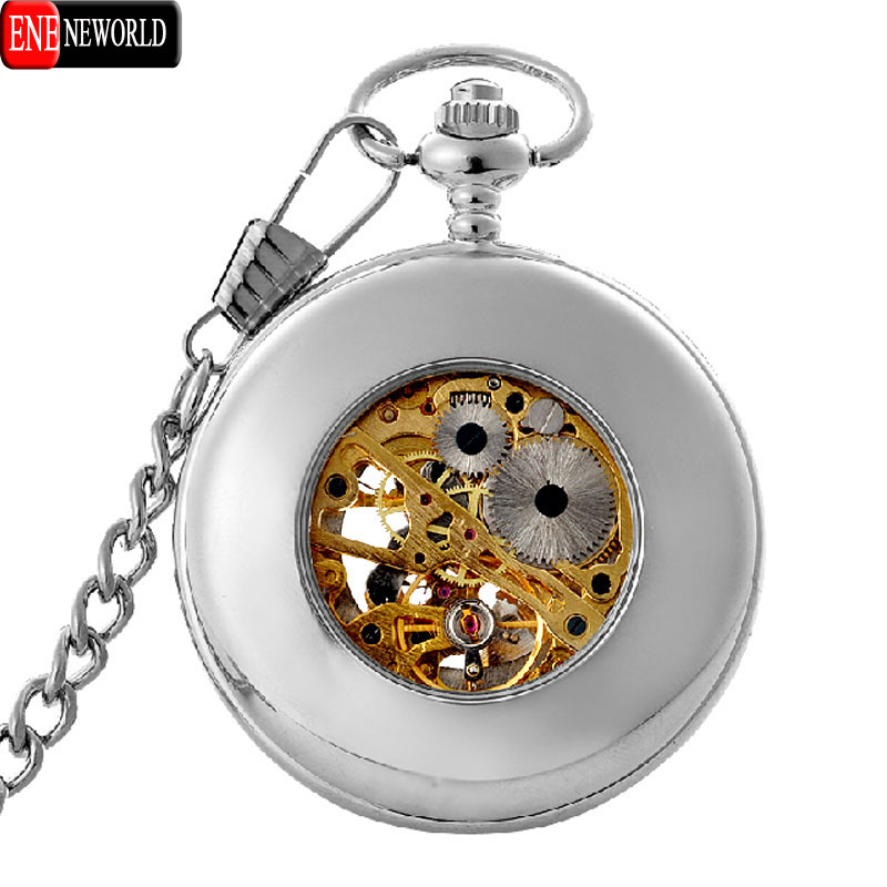 Classic Semi-hollow Silver Skull  Pocket Watch Mechanical Hand Wind  Antique Men Pendant <br><br>Aliexpress
