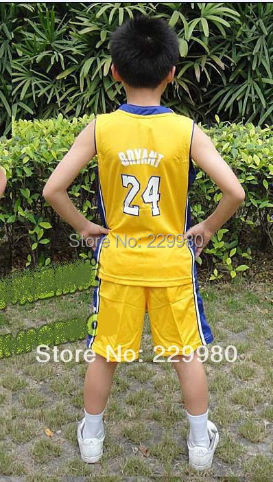 3 Colors Kid's Childrens Boys Girl's Basketball Jersey Suits Clothing Set Shirt + Shorts Print#24 - Children Jerseys store
