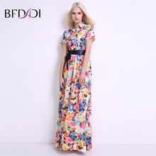Buy BFDADI women summer dress 2017 New Fashion Print Maxi Dress Women Casual Elegant Lapel Floral Long Dresses belt BF021 for $22.19 in AliExpress store