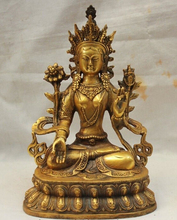 xd 001586 8 inchTibet Tibetan Buddhism Bronze Gilt Seat 7 eye White Tara Buddha Goddess Statue - vogue Gem and statue store