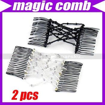 (20pcs/lot)Elastic Stretchy Double Bead Hair Magic Comb Clip #3012