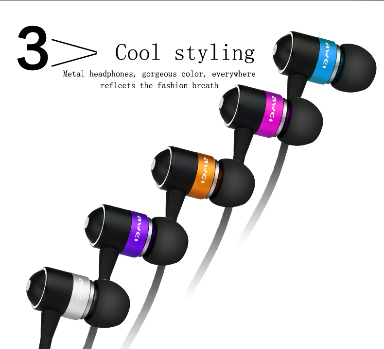 In-Ear Earphone Awei ES Q3 Stereo Earbuds Super Bass Sound Isolation Headset For iPhone Samsung Huawei MP3 Mobile Phones