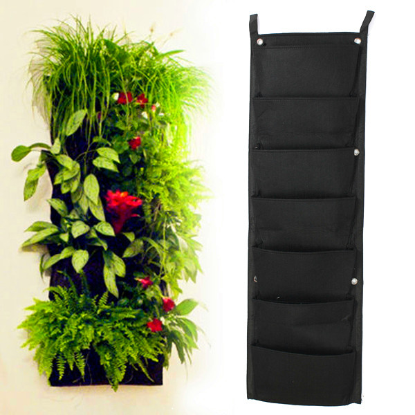 7-Pocket NEW Felt 1PC Outdoor Vertical Gardening Flower Pots and Planter Hanging Pots Planter On wall Green Field