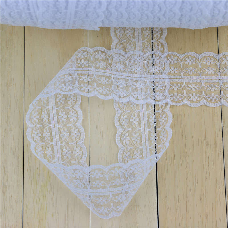 10yards lot 45MM Width white lace ribbon DIY decorative lace trim fabric wedding birthday Christmas decorations