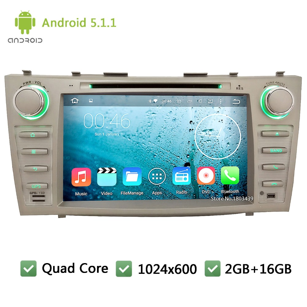 Quad Core WIFI FM BT RDS 2Din Android 5.1.1 1024*600 Car DVD Player Radio Audio Stereo PC Screen GPS For TOYOTA CAMRY 2007-2011(China (Mainland))