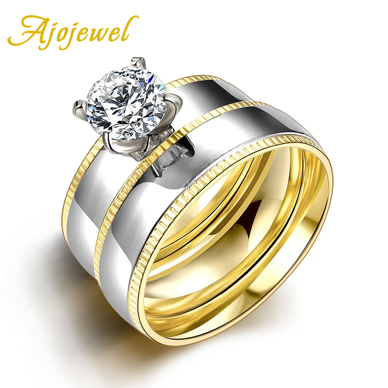 New Arrival European Style Ajojewel Brand Hot Sale Stainless Top Zircon Double Set Rings For Women(China (Mainland))