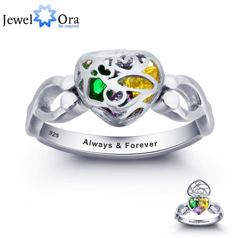 Personalized Colorful Heart Birthstone Open Ring 925 Sterling Silver Cubic Zirconia Ring Mothers Day Gift (JewelOra RI101806)<br><br>Aliexpress