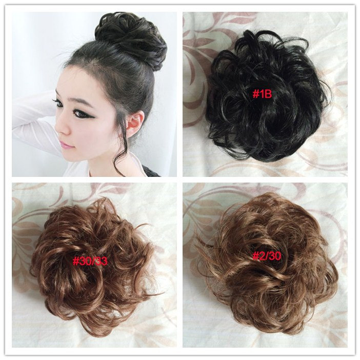 free shipping 2pcs/lot  3 colors avialable rubber bind hair pieces bun chignons synthetic hair bun curly bridal hair style gift<br><br>Aliexpress
