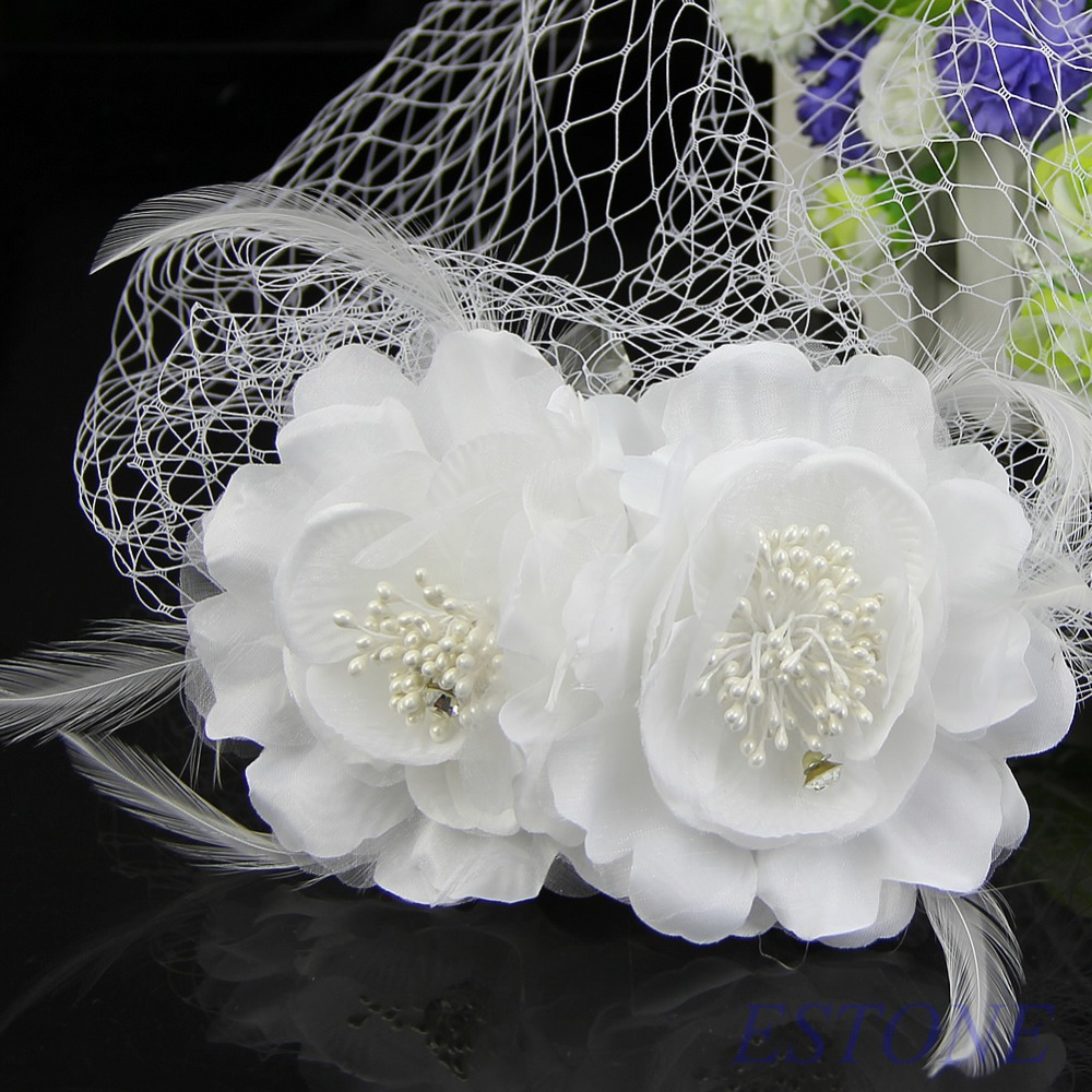 E74 Free Shipping Women Head Wear Bridal Birdcage Veil Fascinator White Feather Flower With Comb(China (Mainland))