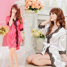 sexy Lace Lingerie Babydoll Sleepwear Night Dress Women Sexy Satin Lingerie Sleepwear Nightdress Robes Lace G-string Gown
