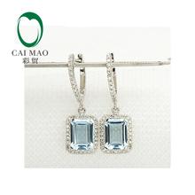 Unplated 14K White Gold Natural 3.19CT Aquamarine Diamond Engagement Earrings(China (Mainland))