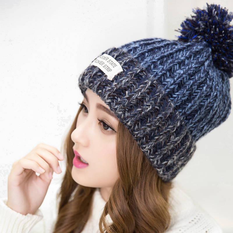 2016 New Fashion Woman's Warm Woolen Winter Hats Knitted Fur Cap For Woman Sooner State Letter Skullies & Beanies 6 Color Gorros(China (Mainland))