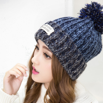 2015 New Fashion Woman's Warm Woolen Winter Hats Knitted Fur Cap For Woman Sooner State Letter Skullies & Beanies 6 Color Gorros