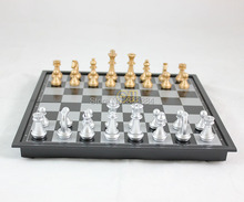 Gold and silver folding magnetic chess strengthen magnetic disk International Chess Folding Magnetic Board(China (Mainland))