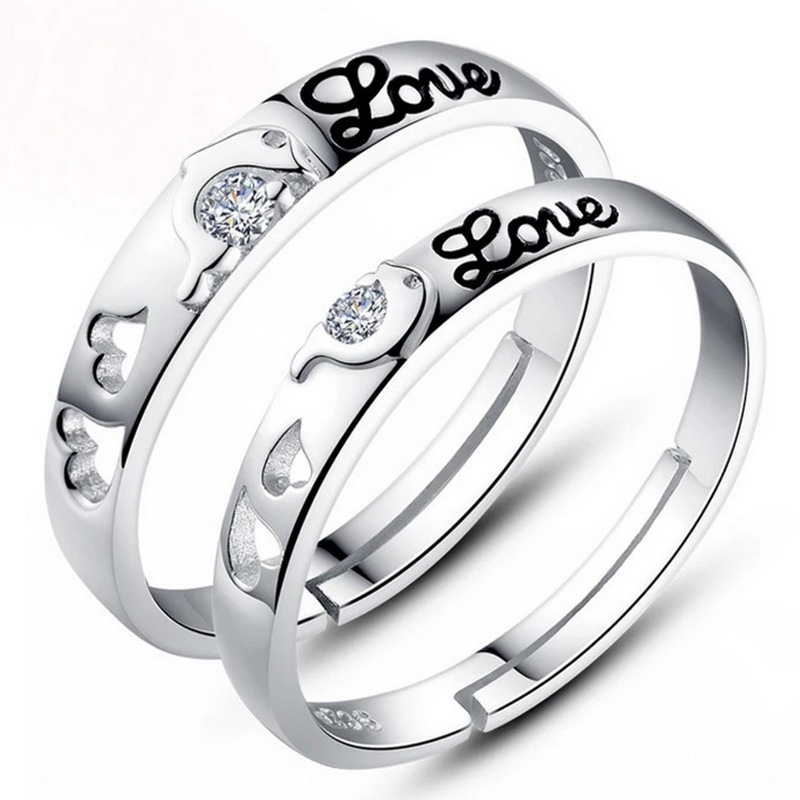 2015 New 925 sterling silver ring Never tie the knot Dolphin Love couple rings ajustable his and hers promise ring sets(China (Mainland))