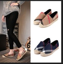 2016 celebrity brand new designer womens canvas denim checks espadrilles striped plaid hemp straw weave fisherman