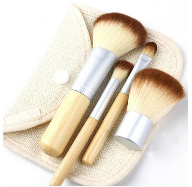 1set/4Pcs Professional Foundation Make up Bamboo Brushes Kabuki Makeup Brush Cosmetic Set Kit Tools Eye Shadow Blush Brush(China (Mainland))