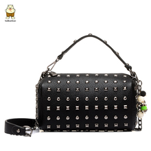 2016 new fashion hand bags Rock take handbag shoulder messenger bag rivet chain bag(China (Mainland))