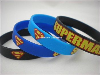 100PCS/Lot Drop Shipping Printed Superman Silicone Wristband Bracelet, Adult Size, Give Away Gift for Animation Fans