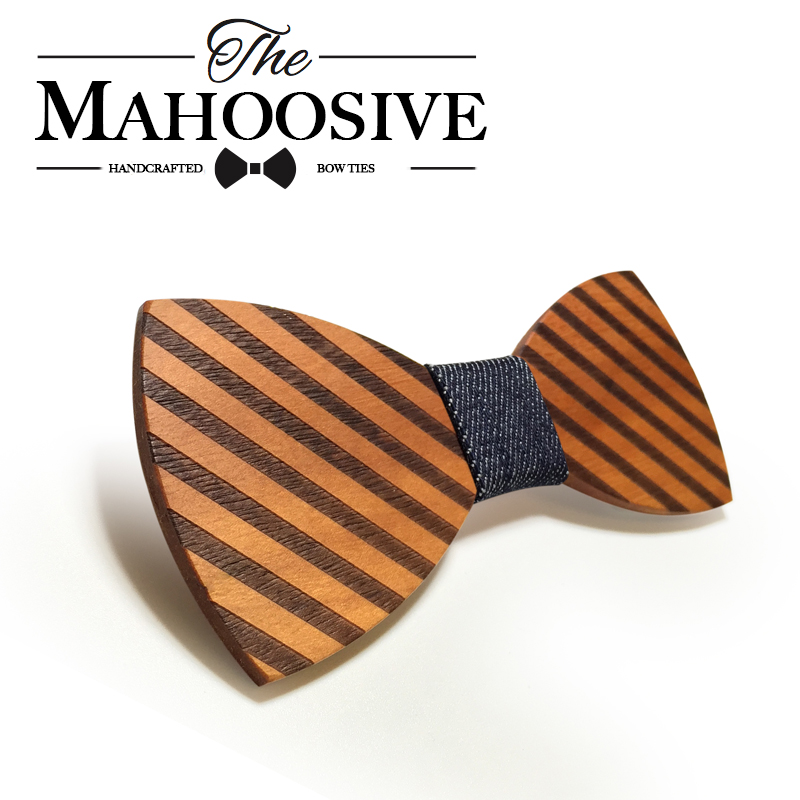 Mahoosive Striped Wood Bow Tie For Men Classic Wooden Bowties Neckwear Butterfly Wood Bow Tie Cravats Accessories Bowknot(China (Mainland))
