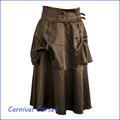 new Steampunk Clothing Patterns Brown Satin Low Waist Zipper 2 Layers Long Skirts Womens costume lolita